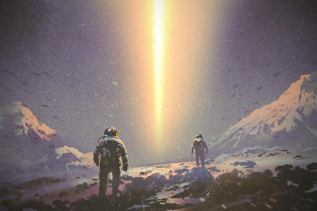 astronauten lopen naar mysterie lichtstraal uit de lucht, sci-fi concept, illustratie schilderen