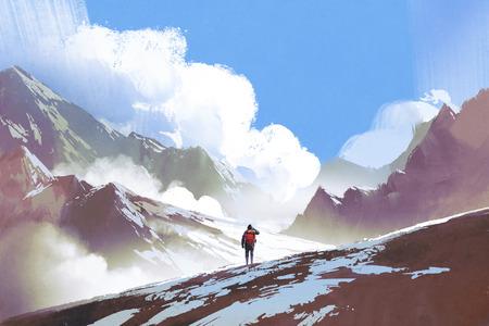 Landschap van wandelaar met rugzak naar bergen kijken, illustratie schilderij