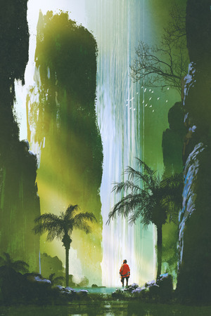 scenery of a man looking at the magnificent waterfall in rock cave with beautiful sun light,illustration painting Archivio Fotografico