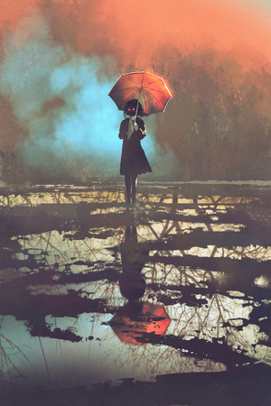mysterious woman holds umbrella standing in a puddle with reflection of spooky forest, illustration painting Stock Photo