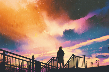 silhouette of man standing on footbridge against colorful sky, illustration painting
