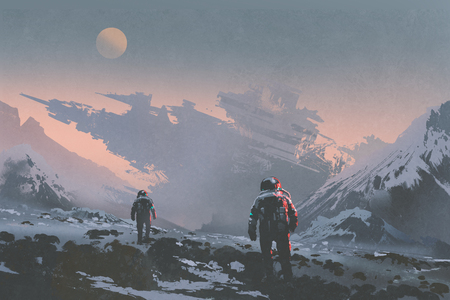 sci-fi concept of astronauts walking to derelict spaceship on alien planet, illustration painting