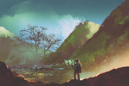 sci-fi concept van de astronaut die levende dingen op de planeet onderzoekt, illustratie schilderij