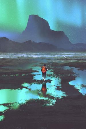 ハイカーのバックパックを見ている山と空、絵画の図にカラフルな光の夜の風景