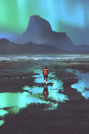 night scenery of hiker with backpack looking at mountains and colorful light in the sky, illustration painting