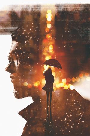 夜の街の人の頭は、イラスト画に対しての傘を二重露光表示シルエット女性 写真素材