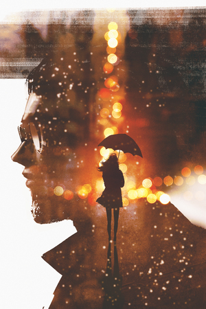 double exposure showing silhouette woman with umbrella in night city against a man head ,illustration painting 版權商用圖片 - 76374425