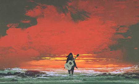 vrouw met gitaar op de rug staande in de zee bij zonsondergang, illustratie schilderij Stockfoto