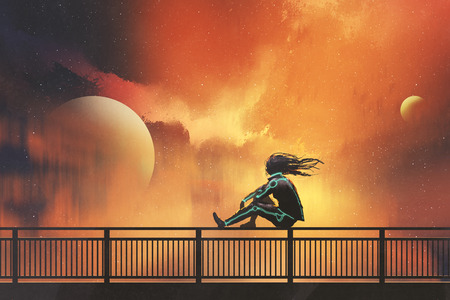 woman in futuristic suit sitting on railing looking at beautiful night sky, illustration painting Фото со стока
