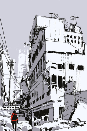 hand drawn sketch of the man standing in abandoned city, illustration art