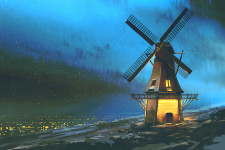digital art of night scenery with the windmill on the mountain in winter, illustration painting