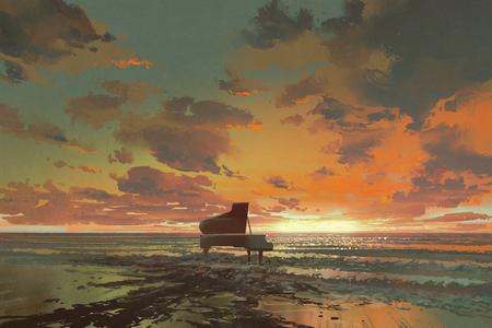 日没、イラストでビーチで超現実的な絵画の溶融黒ピアノ