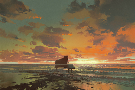 surreal painting of melting black piano on the beach at sunset, illustration art Stock Photo