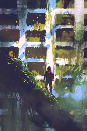 digital art of the man standing on giant trees looking at abandoned building with ivy overgrown, illustration painting