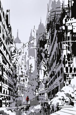 Bosquejo dibujado a mano del hombre que se coloca en ciudad abandonada, arte de la ilustración Foto de archivo - 76489884