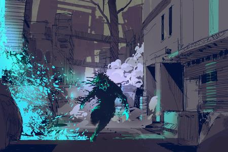 공상 과학 소설 개념 도시 골목, 그림 디지털 페인팅에서 파란색 빛 입자에서 실행하는 미래의 짐승의