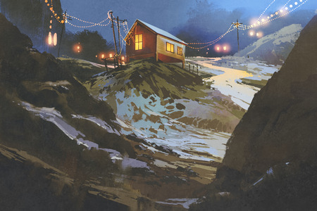 night scenery of wooden houses in the mountain in winter, illustration painting Stock Photo