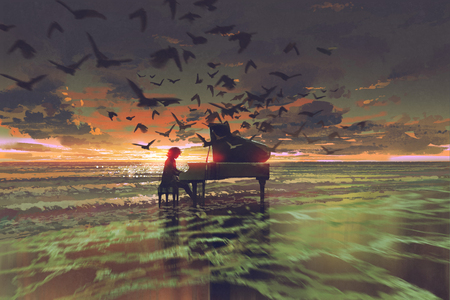 digital art of the man playing piano among crowd of birds on the beach at sunset, illustration painting