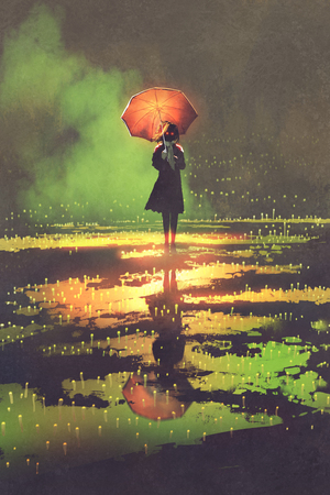 dark fantasy concept of mysterious woman holds umbrella standing in a puddle, illustration digital painting