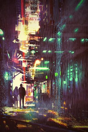 공상 과학 소설 디지털 아트 스타일, 그림 그림으로 비오는 밤에 골목에서 산책하는 부부의 개념