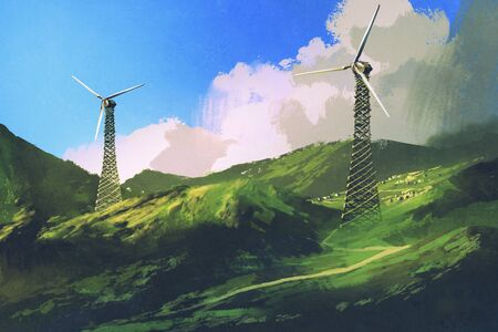 digital art of landscape with wind turbines on the green mountain, illustration painting