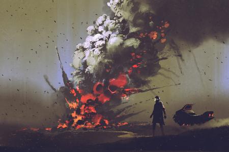 Scène de science-fiction de l'homme avec son véhicule en regardant l'explosion d'une bombe sur le sol, illustration peinture Banque d'images - 77656254