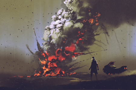 sci-fi scene of the man with his vehicle looking at bomb explosion on the ground, illustration painting