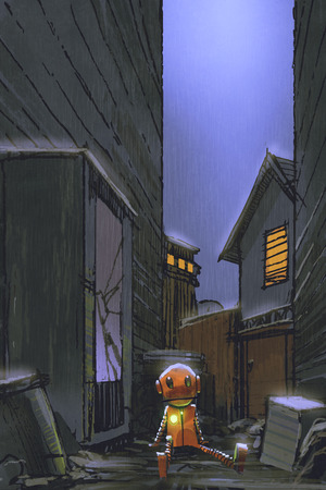 night scene of little robot left alone in dirty alley with digital art style, illustration painting
