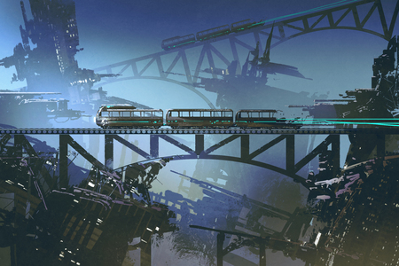 scene of futuristic train on railway and bridge in abandoned city with digital art style, illustration painting