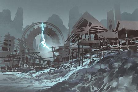 fantasielandschap van verlaten dorp met reuzeklok op achtergrond, illustratie het schilderen