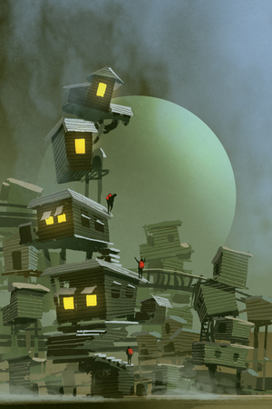 digital art of the fantasy village with stacked houses and a planet on background, illustration painting Stock Photo