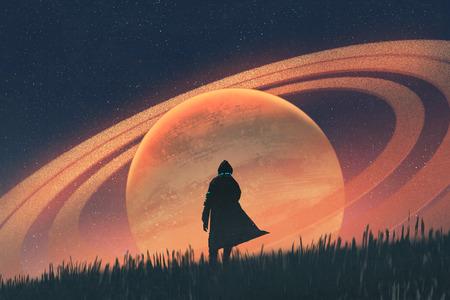 nachtscène van de man die zich op gebied tegen de planeet met ringen, illustratie het schilderen bevindt