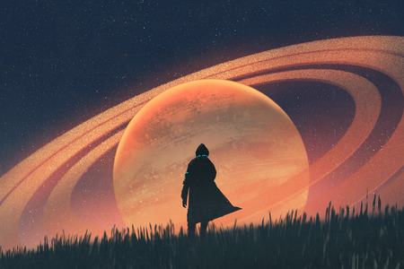 night scene of the man standing on field against the planet with rings, illustration painting Standard-Bild