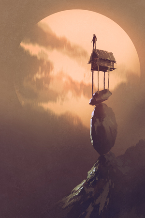 the man at the top of the little cottage over precarious stacked rocks against the big moon with digital art style, illustration painting