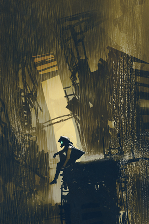 post-apocalypse concept of the survivor sitting on a wrecked building in the ruined city with digital art style, illustration painting
