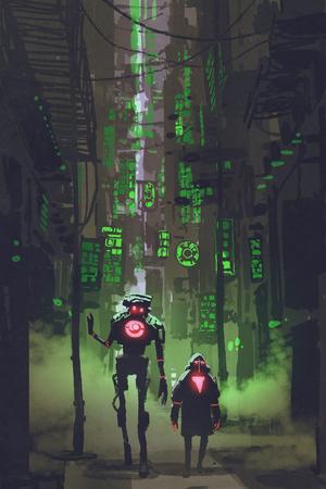 공상 과학 소설 디지털 아트 많은 녹색 조명, 그림 그림 좁은 골목에서 걷는 두 로봇의 개념
