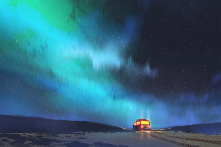 nacht landschap van de bus geparkeerd door een prachtige sterrenhemel met digitale kunststijl, illustratie schilderij