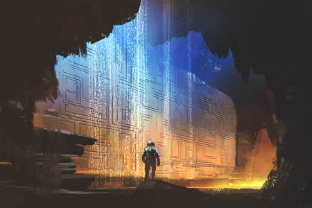 sci-fi concept of the astronaut looking at pattern on the rock wall in the cave with digital art style, illustration painting