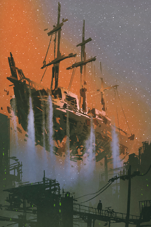 the wrecked pirate ship with waterfalls floating in the sky above futuristic city with digital art style, illustration painting Archivio Fotografico