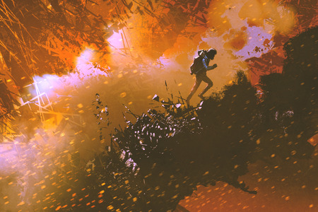 digital art of the hiker walking in the mountain with explosion effect, illustration painting 版權商用圖片