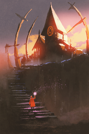 the red riding hood climbing on stairs to the witch castle at sunset with digital art style, illustration painting