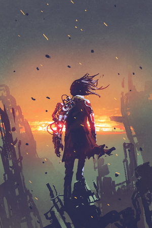 sci-fi concept of the man with robotic arm standing on ruined buildings looking at sunset sky with digital art style, illustration painting
