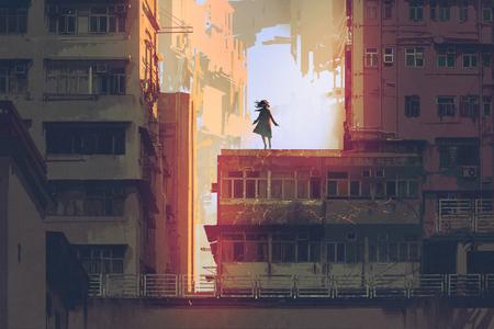 デジタル アート スタイル、絵画の図と古い建物の屋上に立っている神秘的な少女