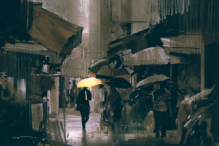 the man with glowing yellow umbrella walking in city alley in rainy day with digital art style, illustration painting