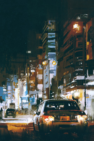 digital art of cars in city street at night with colorful lights, illustration painting