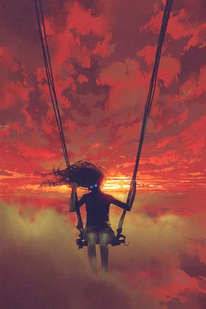 デジタル アート スタイル、絵画の図と夕日で空にスイング上に座って神秘的な女性の現実的な概念
