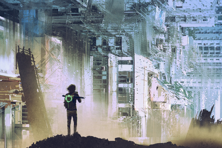 sci-fi concept of the traveler take picture of abstract futuristic city with digital art style, illustration painting Archivio Fotografico