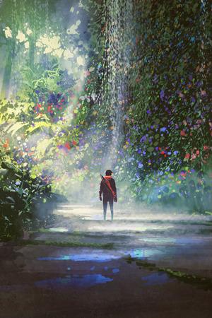 De man loopt in mooi bos met digitale kunststijl, illustratie schilderij
