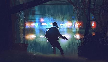 scène van de dief met het pistool wordt gevangen door politie-auto licht op regenachtige nacht met digitale kunststijl, illustratie schilderij