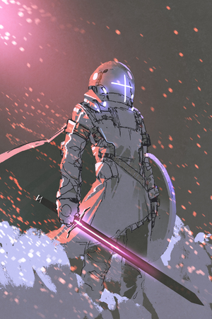 sci-fi character of futuristic knight with glowing sword and shield, digital art style, illustration painting